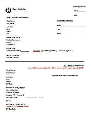 Port Request Forms