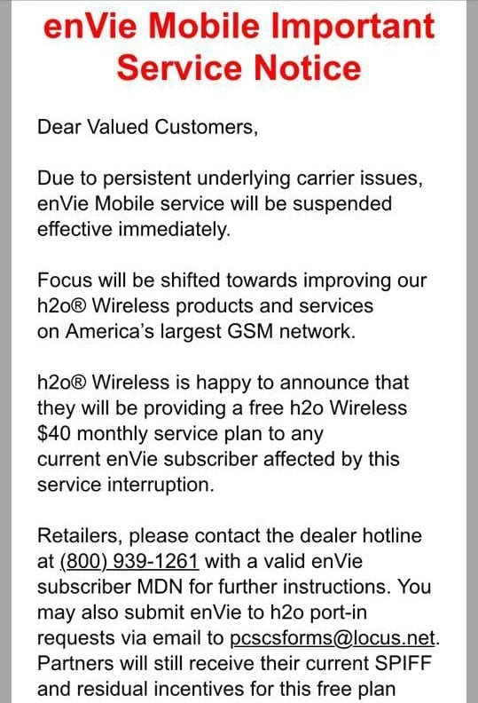 enVie Mobile Shutting Down - Verizon MVNO by H2O Wireless