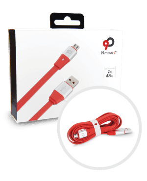 Nimbus9 Lifeline Micro USB Cable Red Silver