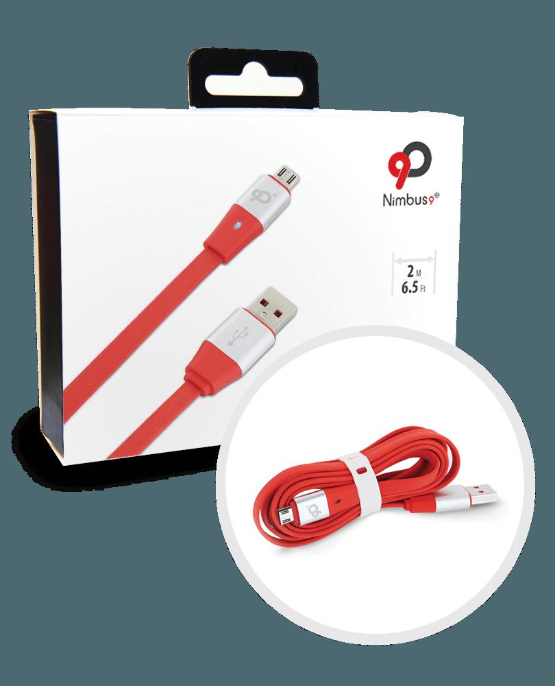 Nimbus9 Lifeline Micro USB Cable Red Silver