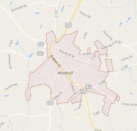 Who has service in Woodruff, SC 29388?